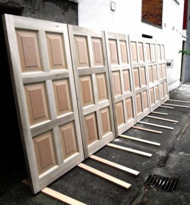 Hardwood, six, raised panel doors for a television project