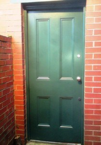 painted hardwood four panel Victorian entrance door