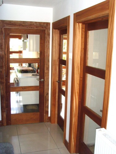 Solid Sapele, toughend glass, three panel doors with matching frames ...