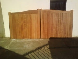 Sapele timber driveway gates before fitting