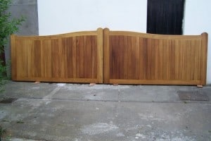 Iroko hardwood entrance gates before fitting