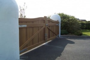 View from rear of bespoke Iroko hardwood entrance gates in Co Down