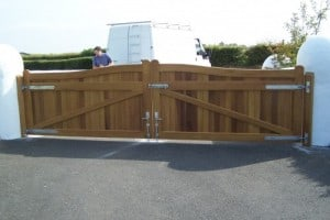 View from rear of Iroko hardwood entrance gates showing gate furniture in Co Down