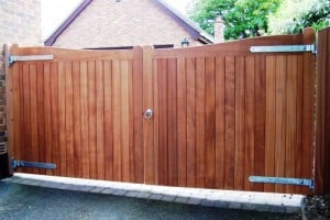 Bespoke Sapele timber driveway gates after fitting in Co Down