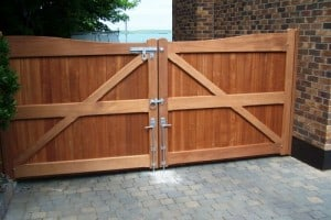 View from rear of Sapele timber driveway gates showing gate furniture