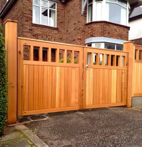 Bespoke Western Red Cedar Driveway Gates and Posts in East Belfast