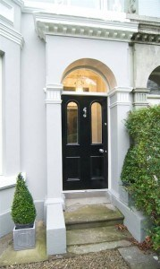 Painted Victorian hardwood front door