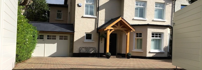 Bespoke gates, garage doors and porch. Bespoke joinery in Belfast