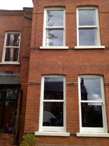 Painted Hardwood, double glazed, replacement sash windows in Belfast