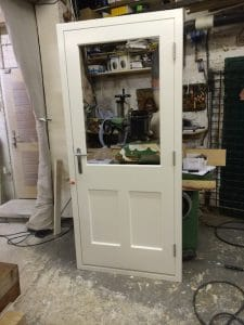 Bespoke hardwood, three panel, double glazed door in Belfast