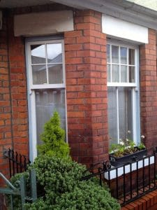 Replacement painted Redwood, double glazed Georgian sash window bay in Belfast