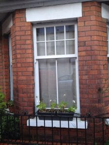 Replacement, painted redwood, double glazed, Georgian sash window in Belfast