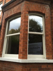 Replacement, painted hardwood, double glazed sash windows in Belfast