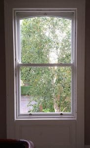 internal view of a replacement, painted hardwood sash window in Belfast