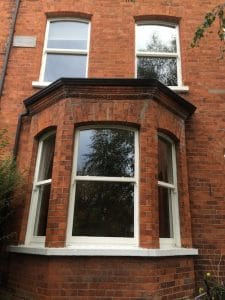 Replacement painted hardwood, double glazed sash windows in Belfast