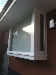 Replacement hardwood, double glazed, painted stormproof bay window in Belfast