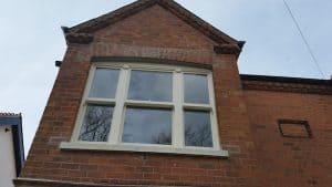 New double glazed, painted replacement triple sash window in Belfast