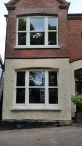 New double glazed, painted, replacement double bay of triple sash windows in Belfast