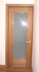 American white oak shaker style internal door with obscure glazed in Belfast