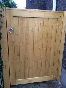 Bespoke, light oak coloured, TGV Redwood pedestrian gate in Bangor Co Down
