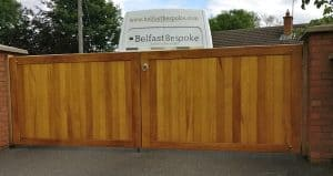 Bespoke, made to measure TGV Iroko driveway gates