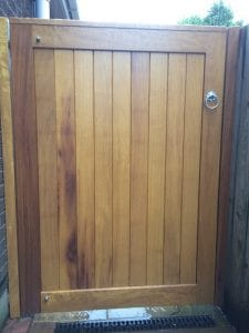 Bespoke, made to measure, TGV Iroko hardwood pedestrian gate in Bangor Co Down