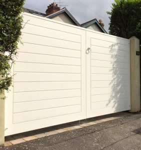 Bespoke, painted redwood, contemporary entrance gates in North Belfast