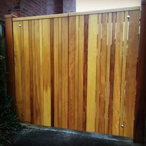 Bespoke, made to measure, Iroko hardwood driveway gates in East Belfast