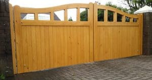 Bespoke, made to measure, light oak coloured, open top Redwood driveway gates in Ballyclare Co Antrim