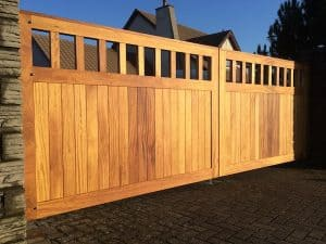 Bespoke, made to measure open top Iroko entrance gates in Doagh Co Antrim