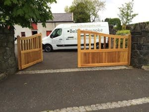 Bespoke, made to measure, open top Iroko Hardwood entrance gates in Ballyclare Co Antrim