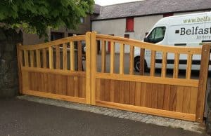Bespoke, made to measure, open top Iroko hardwood gates in Ballyclare Co Antrim