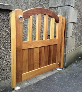 Bespoke, made to measure, open top Iroko hardwood pedestrian gate in Ballyclare Co Antrim