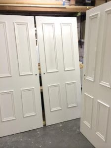 Bespoke, painted four panel internal doors with applied mouldings in East Belfast
