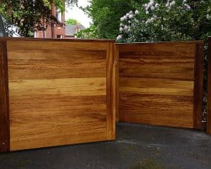 Bespoke, made to measure, contemporary Iroko hardwood driveway gates in East Belfast