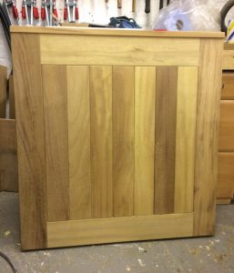 Contemporary Iroko pedestrian gate ready for fitting in Belfast