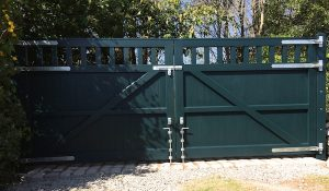 Rear view of bespoke, sage green,hardwood open top entrance gates in Downpatrick Co Down