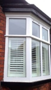 New replacement, painted hardwood, double glazed, traditional casement bay window in Belfast