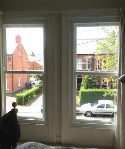 Internal view of replacement, double glazed, painted hardwood sash windows in Belfast