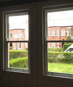 Internal view of double glazed, replacement sash windows in Belfast