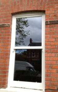 New replacement, painted, hardwood, double glazed sash window in Belfast