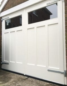 Made to measure, painted redwood, double garage doors and matching frame in East Belfast