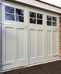 Bespoke redwood 2/3 and 1/3 opening painted, Georgian style garage doors and matching frame in Lisburn Co Antrim