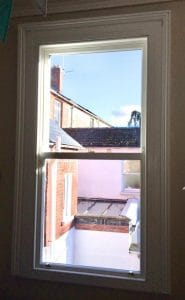 Internal view of double glazed, replacement sash window in Belfast