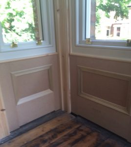 New panelling and architrave to suit new, double glazed, replacement sash windows in Belfast