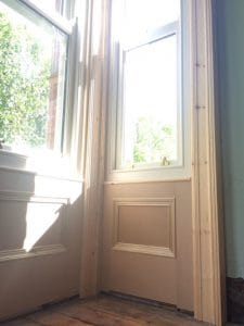 New bespoke window panelling and architrave for new, double glazed, replacement sash windows in Belfast
